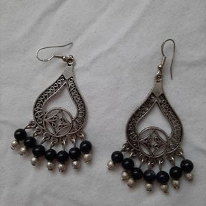 Boho silver earrings with navy beads
